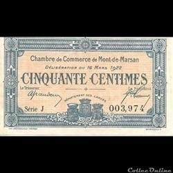 G1 50C. Chambre de Commerce de Mont de Marsan Délibération du 16 Mars 1922