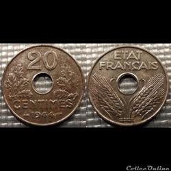 Ec 20 centimes Etat Français 1944 24mm 3...