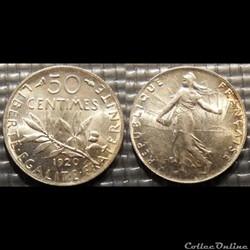 Ga 50 centimes Semeuse 1920 18mm 2.5g
