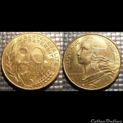 Ef 20 centimes Marianne 1982 23.5mm 4g