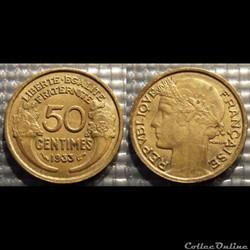 Gc 50 centimes Morlon 1933 18mm 2g
