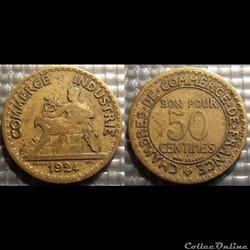 Gb 50 centimes Chambre de commerce 1924 ...