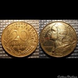 Ef 20 centimes Marianne 1964 23.5mm 4g