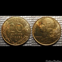 Ef 20 centimes Marianne 1995 23.5mm 4g