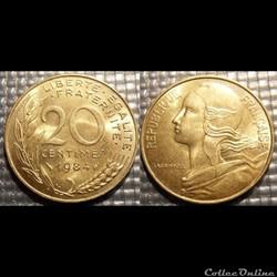 Ef 20 centimes Marianne 1984 23.5mm 4g