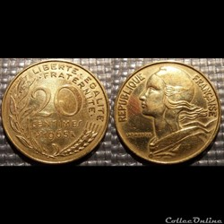 Ef 20 centimes Marianne 1965 23.5mm 4g