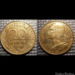 Ef 20 centimes Marianne 1962 23.5mm 4g