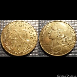 Ef 20 centimes Marianne 1981 23.5mm 4g