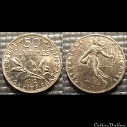 Ga 50 centimes Semeuse 1912 18mm 2.5g