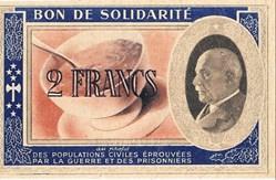 a0- Bon de solidarité 2 FRANCS Pétain