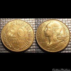 Ef 20 centimes Marianne 1973 23.5mm 4g