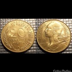 Ef 20 centimes Marianne 1973 23.5mm 4g