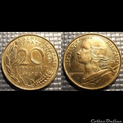 Ef 20 centimes Marianne 1970 23.5mm 4g