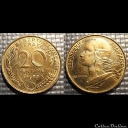 Ef 20 centimes Marianne 1970 23.5mm 4g