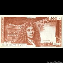500 Francs Molière billet factice