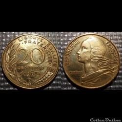 Ef 20 centimes Marianne 1963 23.5mm 4g