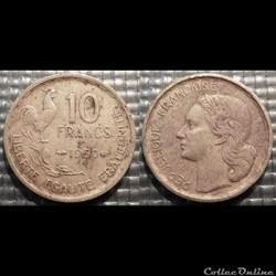 Le 10 francs Guiraud 1950 20mm 3g