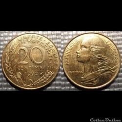 Ef 20 centimes Marianne 1992 23.5mm 4g