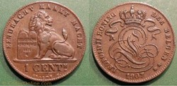 Belgique 1 Cent. 1907 der Belgen