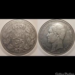 Belgique 5 Franc  1851  Des Belges