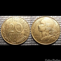 Ef 20 centimes Marianne 1993 23.5mm 4g