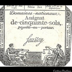 Assignat de cinquante sols Loi du 23 Mai 1793.