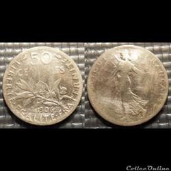 Ga 50 centimes Semeuse 1906 18mm 2.5g