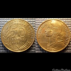 Gk 50 centimes Marianne 1964 25mm 7g