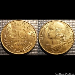 Ef 20 centimes Marianne 1972 23.5mm 4g