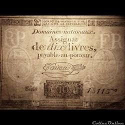billet france assignat de dix livres filigrane rp rf