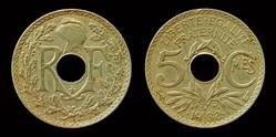 5 centimes Lindauer, maillechort, avec é...