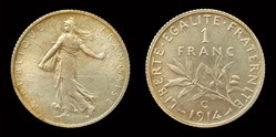 1 franc Semeuse 1914 Castelsarrasin