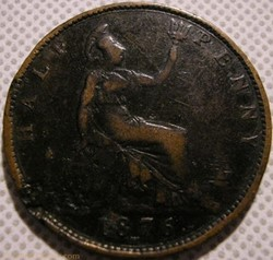 Victoria - Half Penny 1876 H - Great Bri...