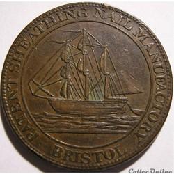 1811 One Penny Patent Sheathing Nail Manufactory - Bristol