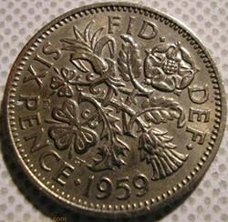 Elizabeth II - 6 Pence 1959 - UK