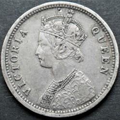 Victoria - 1/4 Rupee 1862 Madras - Briti...