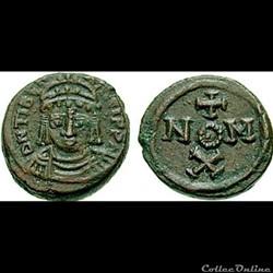 monnaie antique byzantine maurice tiberius 582 602 ad decanummium carthage mint