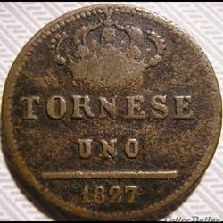 monnaie monde italie 1827 royaume des deux siciles uno tornese francesco i