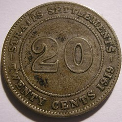 George V - 20 Cents 1919 - Straits Settl...