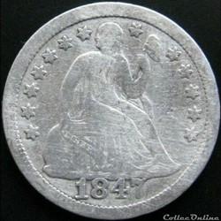 1847 Dime / 10 Cents