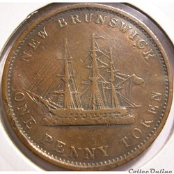 monnaie monde canadum victoria one penny 1843 new brunswick