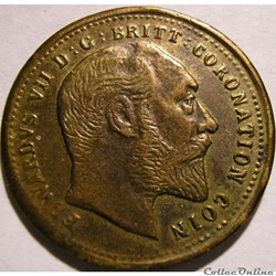 Edward VII - Coronation Token 1902 - Uni...