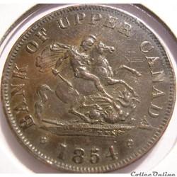 Upper Canada - 1854 HalfPenny Bank Token