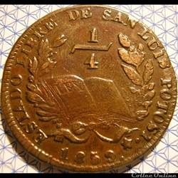 México - 1/4 Real 1859 Estado San Luis P...
