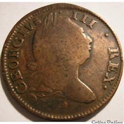 1781 Half Penny, Hibernia - George III o...