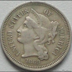 1869 - 3 Cents