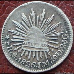 México - 1/2 Real 1826 - 1st Republic