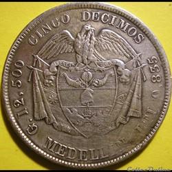 monnaie monde colombie 5 decimos 1880 medellin