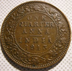 George V - One Quarter Anna 1913 Calcutt...