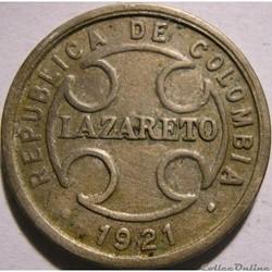2 Centavos 1921 RH - LAZARETO / LEPROSA